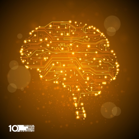 microcircuit: circuit board vector background, technology illustration, form of brain eps10 Illustration