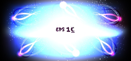 radiated: Abstract energy, particles of energy radiated from the center of the nucleus, eps10