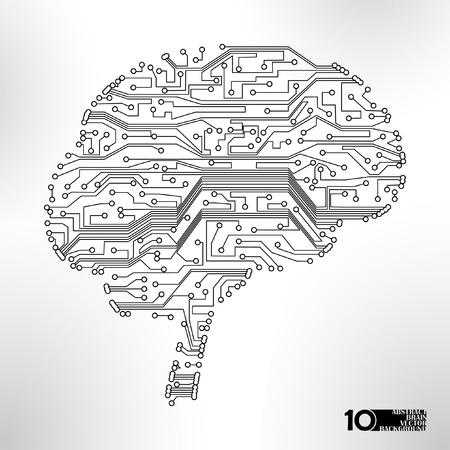 circuitos electricos: la placa de circuito de fondo vector, la tecnolog�a, la forma del cerebro de eps10 Vectores