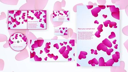 design, stationery set, hearts, bright event romantic honeymoon love celebration