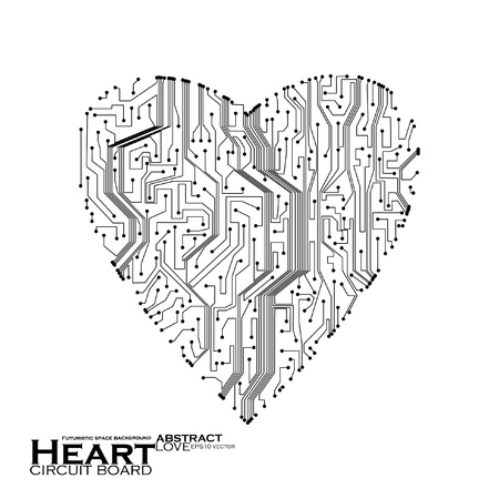 circuit board vector background, technology illustration, form of heart eps10 Vector
