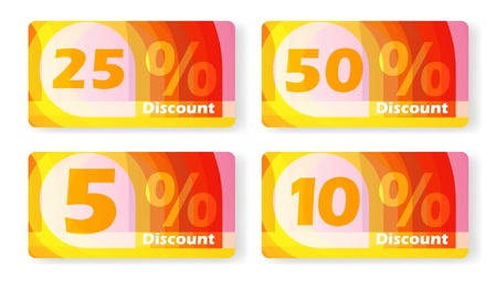 Offer discount cards, for special shopping, set percents eps10 Vector