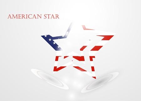 De abstracte ster met Amerikaanse vlag, vector illustratie eps10