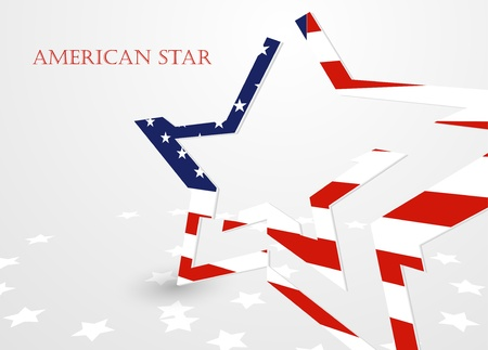 The abstract star with american flag, vector illustration eps10 Vector