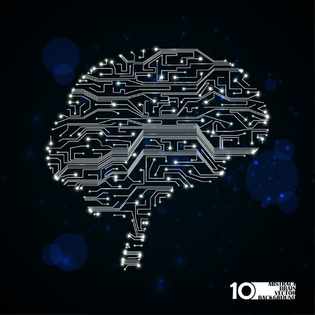 circuit board vector background, technology illustration, form of brain eps10 Stock Vector - 12084405