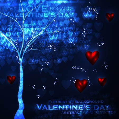 Valentines day illustration, abstract tree in the hearts background eps10 Vector