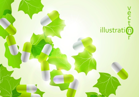 Medical pill capsules on colorful environment leaf background eps10 Vector