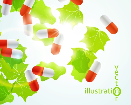 Medical pill capsules on colorful environment leaf background eps10 Stock Vector - 12084422