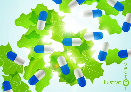 Medical pill capsules on colorful environment leaf background eps10 Stock Vector - 12084442