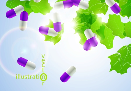 Medical pill capsules on colorful environment leaf background eps10 Stock Vector - 12084441