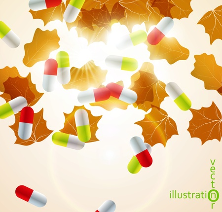 Medical pill capsules on colorful environment leaf background eps10 Stock Vector - 12084443
