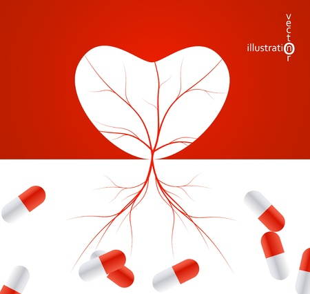 prescription drugs: illustration of heart shape with tree roots, medical pill capsules , health vector illustration eps10