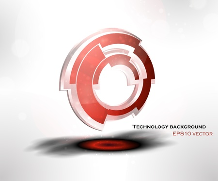 aureola: Abstract background with 3D technological object vector icon and place for your text, eps10