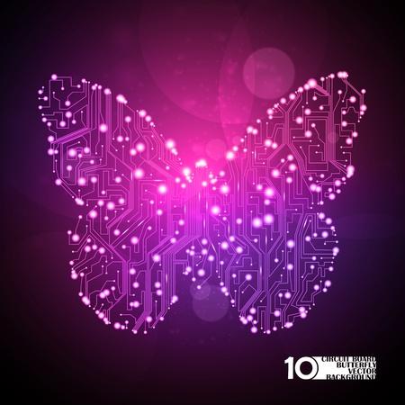 la placa de circuito de fondo vector, la tecnología, la ilustración de la mariposa eps10