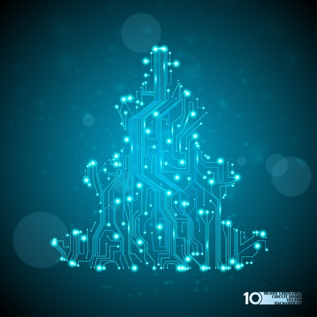 eps10 vector background: circuit board vector background, technology illustration, christmas tree eps10 Illustration