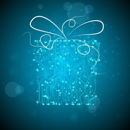 circuit board background, technology illustration, christmas gift