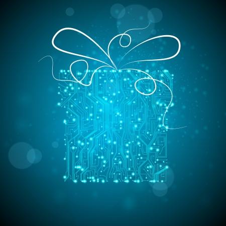 circuit board background, technology illustration, christmas gift Stock Illustration - 12355647