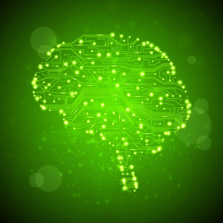 anatomy brain: circuit board background, technology illustration, form of brain