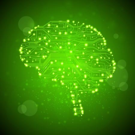 circuitos electricos: la placa de circuito de fondo, ilustraci�n de tecnolog�a, la forma del cerebro