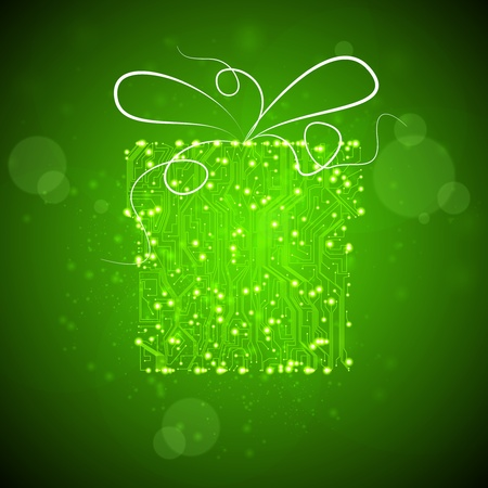 circuit board background, technology illustration, christmas gift  illustration