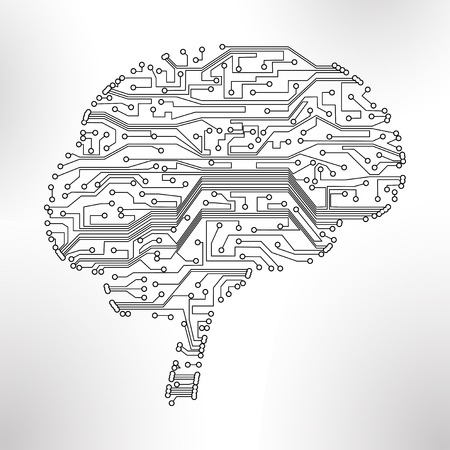 circuit board background, technology illustration, form of brain illustration