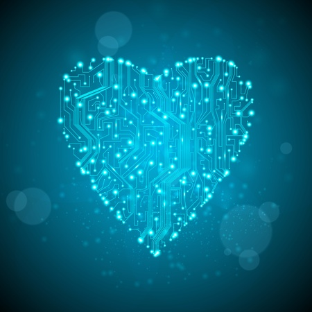 circuit board background, technology illustration, form of heart  illustration