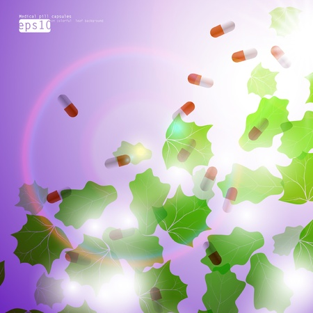 Medical pill capsules on colorful environment leaf background eps10 Stock Vector - 12355717