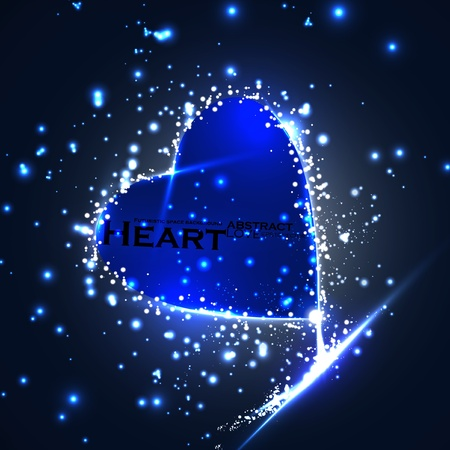 Futuristic heart, abstract background, vector illustration