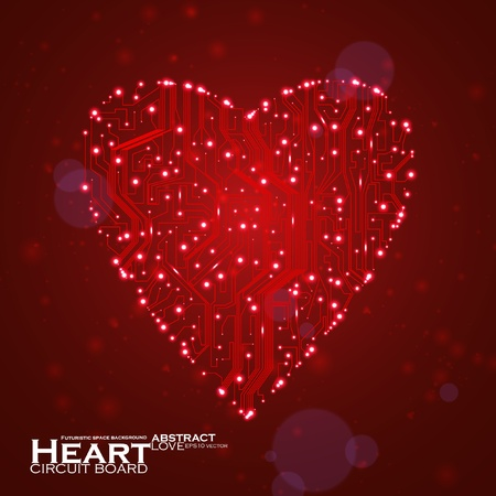 circuit board vector background, technology illustration, form of heart Stock Vector - 12355705