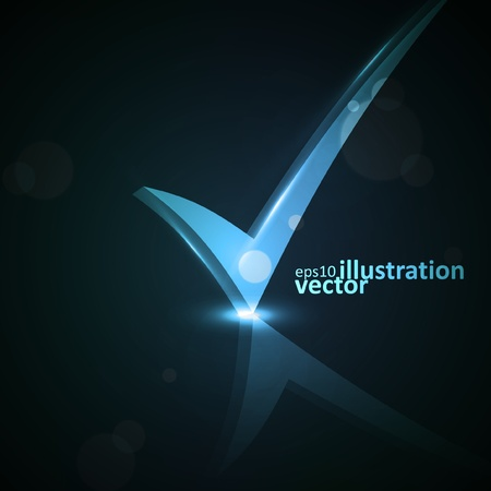 confirm confirmation: Vector illustration of abstract checkmark on colorful background eps10 Illustration