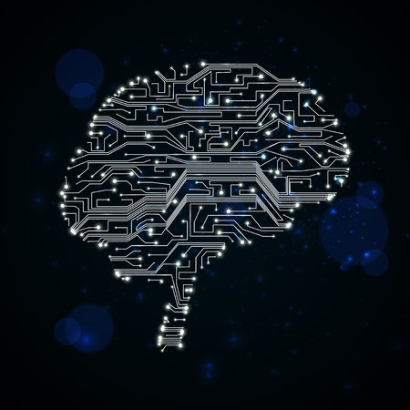 circuit board background, technology illustration, form of brain Stock Illustration - 12355971