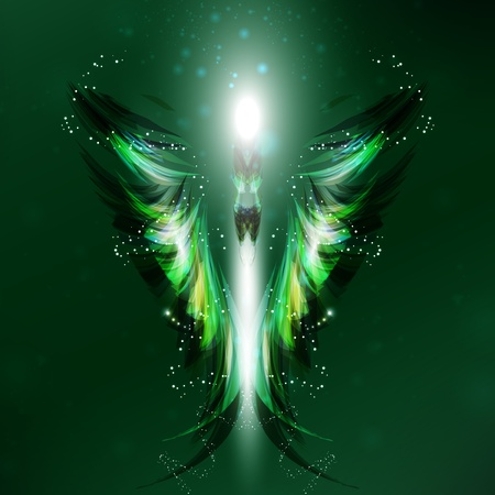 Angel futuristic background, wing illustration Stock Illustration - 12355969