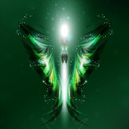 Angel futuristic background, wing illustration Stock Illustration - 12355969