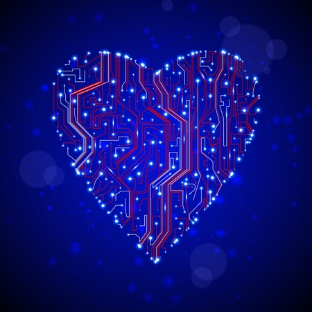 circuit board background, technology illustration, form of heart eps10 illustration