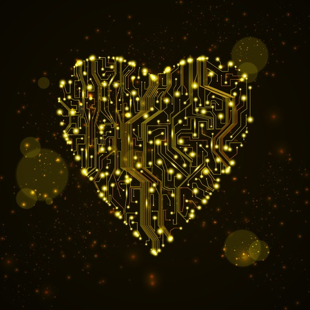 circuit board background, technology illustration, form of heart eps10 illustration