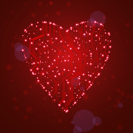 circuit board background, technology illustration, form of heart illustration