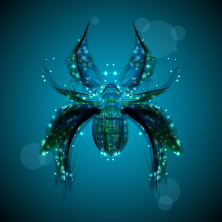 Abstract spider, futuristic colorful strip, stylish illustration illustration