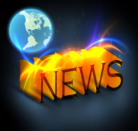 3d colorful news text with globe eps10 Vector