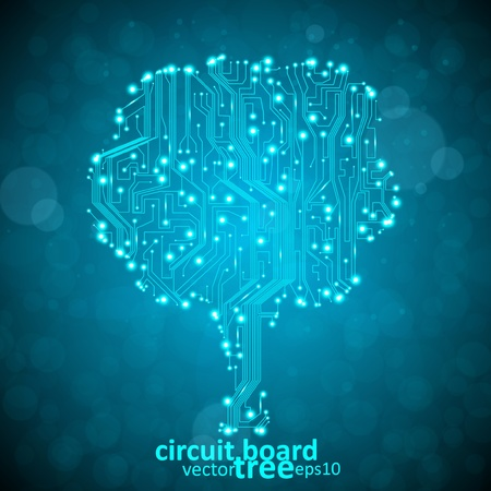 circuit board vector background, technology illustration, form of tree eps10 Vector