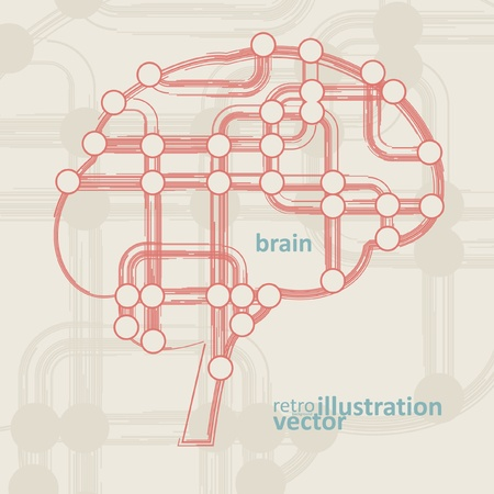 retro circuit board form of brain, technology illustration eps10