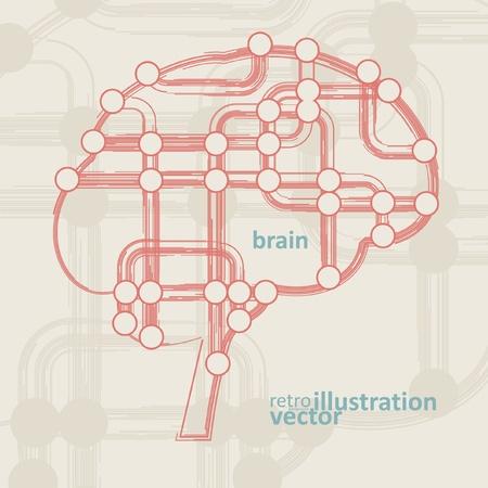 retro circuit board form of brain, technology illustration eps10 Stock Vector - 12356295