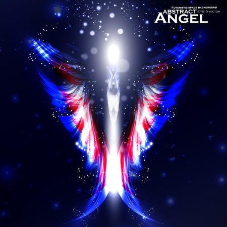 Angel vector futuristic background, wing illustration eps10