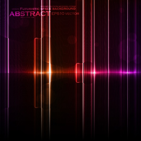 Technology template. Neon abstract, reflection lines  Vector