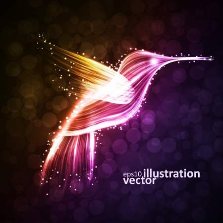 Neon hummingbird, abstract lights  Vector