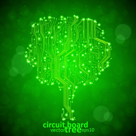 motherboard: circuit board background, technology illustration, form of tree  Illustration
