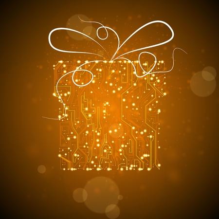 circuit board background, technology illustration, christmas gift Stock Illustration - 12719244