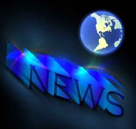 3d colorful news text with globe  Vector