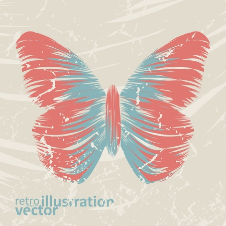 retro butterfly on old background, colorful abstract illustration Vector