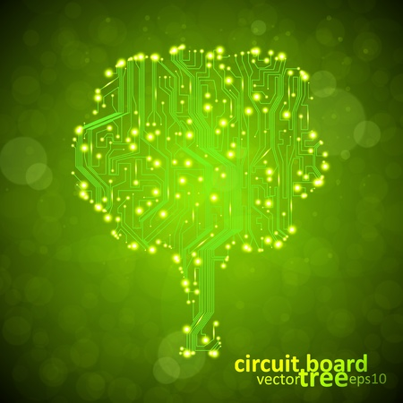 circuit board background, technology illustration, form of tree Vector