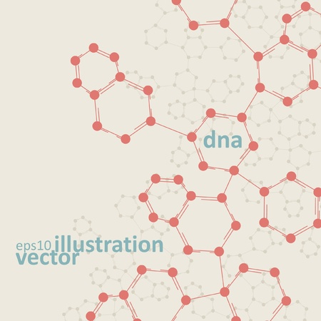 Retro dna, vintage molecule, cell illustration Vector